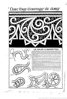 """Le Milan a Barrettes Notre cours d'ouvrages de dames. Les Dimanches de la femme : supplément de la """"Mode du jour""""    1922/07/30 (A1,N21)."""