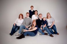 family photos in blue, white and gray