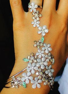 Bouquet Collection beauty for graceful hands by .Diamonds , fancy diamonds and emeralds.(gift idea for Nutcracker Ballet Noel. Arm Bracelets, Hand Bracelet, Bangles, Hand Jewelry, Body Jewelry, Jewlery, Jewelry Box, Shoulder Necklace, Trendy Accessories