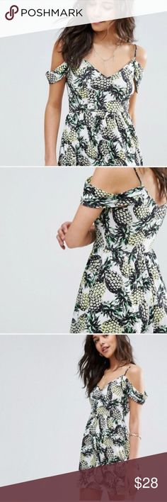 NWT Asos cold shoulder fit and flare print dress Asos Tall, Never been worn, cold shoulder dress in flattering fit and flare style with pineapple print, length hits at mid thigh, colors even more vibrant in person! ASOS Dresses Midi