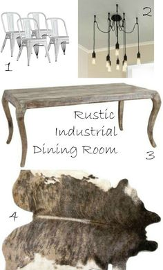 Rustic Industrial Dining Room - love this mix!