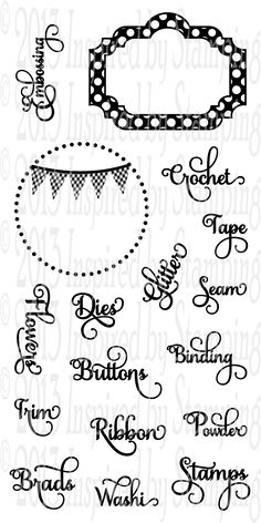 Set of 17Size 4x8Our Crafty Organization does just that.... gets you organized in your crafty room! With 15 different sentiments and two coordinating die cuts the possibilities are endless. Our circle stamp set will fit any 2 inch punch or die cut. And the Polka Dot Frame will fit our Fancy Labels 1 Die!CLICK HERE FOR COORDINATING CUT FILE