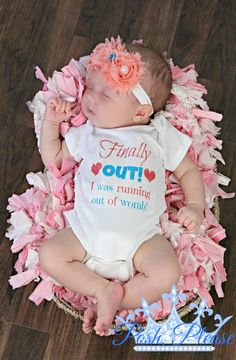 Newborn Take Home Outfit, Finally Out I was Running out of Womb, And Headand, Birth Announcement, Photo Prop, BodySuit Onesie Outfit