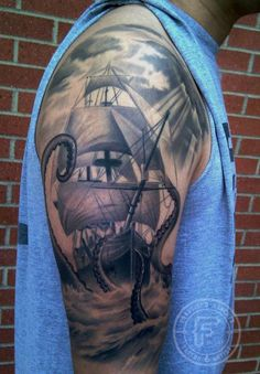 Clouds Sailing Ship And Octopus Tattoos On Half Sleeve
