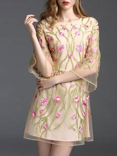 Apricot A-line Mesh Embroidered Crew Neck Mini Dress
