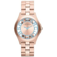 MARC by Marc Jacobs 'Henry Skeleton' Bracelet Watch, 34mm Rose Gold/ Blue featuring polyvore fashion jewelry watches marc jacobs rose gold watches rose gold jewelry blue watches rose gold bracelet watches marc by marc jacobs bracelet