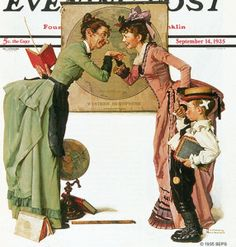 """First Day of School"" or ""Back to School"" Saturday Evening Post Cover, September By Norman Rockwell Norman Rockwell Prints, Norman Rockwell Paintings, Old Magazines, Vintage Magazines, The Saturdays, Saturday Evening Post, Illustrations, First Day Of School, Middle School"