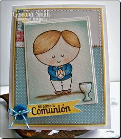 """Card made by using """"Timmy - First Communion"""" clear stamp. Available at www.latinacrafter.com"""