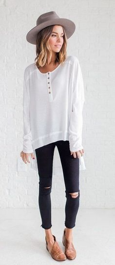 summer outfits Grey Hat + White Blouse + Black Ripped Skinny Jeans