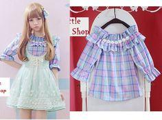 Kawaii Cute Colorful lolita fantasy Lady GAGA barbie Plaid Tshirt Shirt Blouse #OwnBraqnd #Blouse