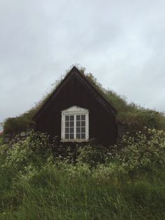 Cozy looking cottage on a cloudy day Iceland House, Cabana, Tiny House, Hidden House, Living Roofs, Living Walls, Cabins And Cottages, Cabins In The Woods, Humble Abode