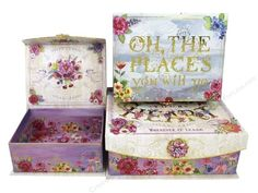 "Punch Studio Nesting Boxes come in graduated sizes and nest inside each other. All boxes have thick walls creating an extremely sturdy and durable decorative box. They are great to use as a set or divided them up and use individually. Brooch Flap Trinket Floral Inspiration- Set contains 3 boxes with interior and exterior designs of flowers, flourishes, a globe and caption of ""Oh The Places You Will Go"", ""Follow Your Heart"", and more. Each box has a magnetic fl"