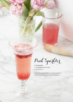 Pink Sparkler - Strawberries, Rhubarb Simple Syrup (Recipe), Prosecco.