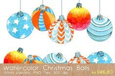Watercolor Christmas Balls by swiejko on @creativemarket