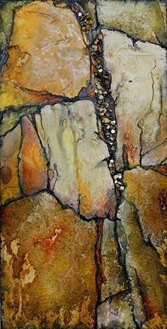 "Mixed Media Artists International: Mixed Media Geological Abstract Painting ""Ancient Wood"" by Colorado Mixed Media Artist Carol Nelson"