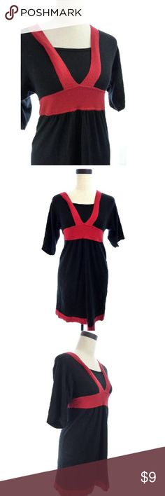 """Black and Red Sweater Dress Petite sweater dress. Size PS. Armpit to armpit is 14"""" across when flat. Shoulder to hem is 33"""". 53% Cotton, 40% Rayon, 7% Nylon. Good uesd condition with average wear. Price reflects condition. wd1086 Style & Co Dresses Mini"""