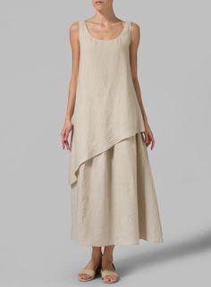 Linen Layered Long Dress Beige