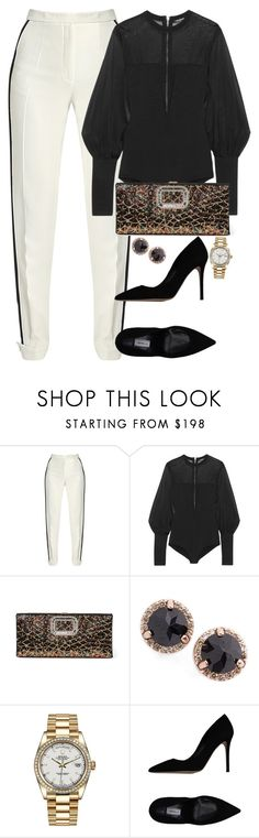 """""""Unbenannt #2362"""" by luckylynn-cdii ❤ liked on Polyvore featuring Elie Saab, Balmain, Roger Vivier, Anna Sheffield, Rolex and Semilla"""