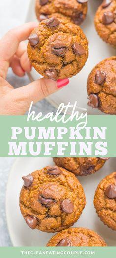 Healthy Muffins, Healthy Sweets, Healthy Breakfast Recipes, Healthy Baking, Healthy Snacks, Healthy Chocolate Muffins, Dairy Free Muffins, Pumpkin Breakfast, Fall Breakfast
