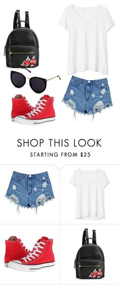 """Untitled #44"" by evalia1291 on Polyvore featuring Boohoo, Gap and Converse"