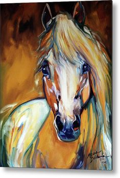 Palomino Wild Abstract Metal Print by Marcia Baldwin. All metal prints are professionally printed, packaged, and shipped within 3 - 4 business days and delivered ready-to-hang on your wall. Choose from multiple sizes and mounting options.