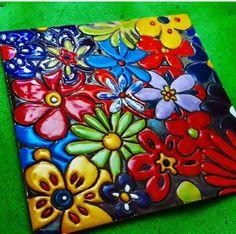 Ceramic Tile Art, Clay Tiles, Ceramic Decor, Mosaic Art, Ceramic Pottery, Ceramics Projects, Clay Projects, Mexican Style Decor, Mosaic Tile Supplies