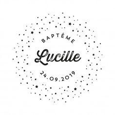 BAPTÊME : tampon personnalisé avec prénom motif voie lactée