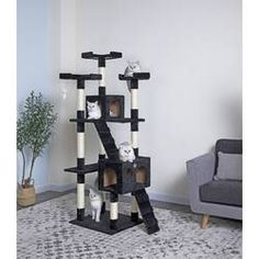Perfect for felines with a sense of adventure, this free-standing cat tree makes a must-have addition to the playroom or den.Gift your cat a place of its own with this Go Pet Club Cat Tree with Condo House. Cat Tree Condo, Cat Condo, Large Cat Tree, Cat Perch, Condo Furniture, Sisal Rope, Fashion Designer, Pet Beds, Brown And Grey