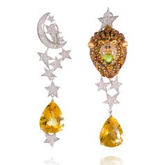 A whimsical depiction of Leo in a pair of earrings by Lydia Courteille.