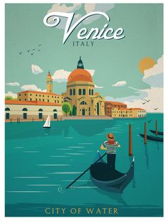 Vintage Venice City Of Water Italy Travel Art Poster Giclee Print Gondola Canal Vintage Italian Posters, Vintage Travel Posters, Vintage Ads, Vintage Style, Old Posters, Illustrations And Posters, Movie Posters, Tourism Poster, Poster S