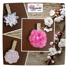 Kanzashi - Tres presilhas Kanzashi Flowers, Bows, Headbands, Nice, Instagram Posts, Hair Barrettes, Tiaras, Flowers, Arches