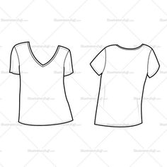 Fashion Flat Vector Template of Women's V Neck Tee shirt - short sleeve, loose fit