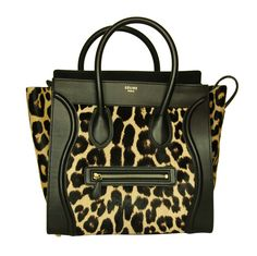 Celine Leopard Print Ponyhair & Leather Mini Luggage Tote Bag Rt. $4,400 | From a collection of rare vintage handbags and purses at http://www.1stdibs.com/fashion/accessories/handbags-purses/