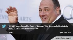 "June 19th, 2013:  James Gandolfini, who famously played Tony Soprano on ""The Sopranos"", died yesterday at 51 years old, du to a heart attack, all fans were very sad to learn the news and showed support retweeting the news - #Seevibes #TopRetweet #Twitter #TMZ - https://twitter.com/TMZ/status/347495327919665154"