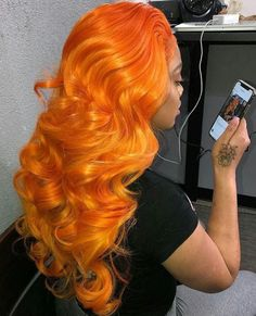 Orange Wigs Yellow Wigs Lace Frontal 100 Remy Human Hair Clip In Extensions Dreadlock Wig 16 Inch Brazilian Curly Hair Golden Blonde Hair Extensions My Hairstyle, Wig Hairstyles, Hairstyle Ideas, Cheveux Oranges, Curly Hair Styles, Natural Hair Styles, Hair Laid, Ginger Hair, Love Hair