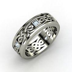 Men's Platinum Ring with Aquamarine - Alhambra Knot Band | Gemvara