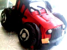 Red Jeep Shape Cake with fondant decor