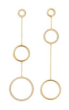 Geometric Code earrings in yellow gold with diamonds
