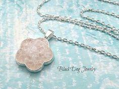 Pink Sea Glass Necklace  Flower Power  Sea by BlackDogJewelrynArt