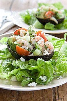 Shrimp and cucumber stuffed avocado.....FABULOUS!!!!!