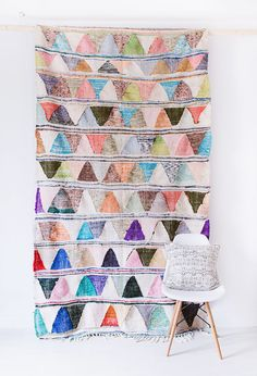 "Vintage Moroccan Boucherouite Kilim Rug, ""The Oliver,"" Pastel Rug, Boho Rug, Rag Rug, Berber Rug, Colorful Rug, Bohemian, Geometric Pattern"