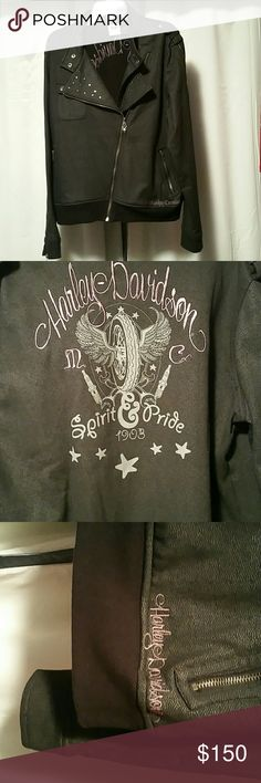 Harley Davidson Jacket Spirit Pride in Pink Letteting. I do not think you can find this jacket anywhere. I wore it once on  Harley Ride with my daughter. Harley-Davidson Jackets & Coats