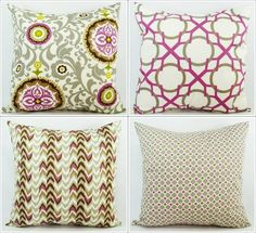 Pick Your Own Set of Purple and White Throw Pillow Covers - 20 x 20  inches Decorative Pillow Cushion Cover Accent Pillow