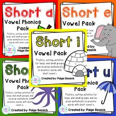 Short vowel bundle.  Includes 5 complete packs to teach and practice each short vowel.  Buy 4, get 1 free!  $20 for the BUNDLE!