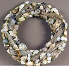Driftwood and sea shell wreath.