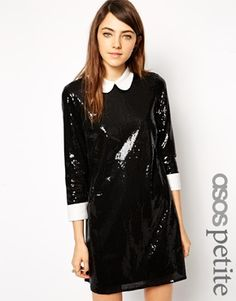 Esclusiva ASOS PETITE - Vestito svasato in paillettes con colletto e  polsini a contrasto 7ff3fab1dd3