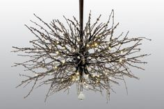 Twig chandeliers and rustic lighting fixtures are a refreshing alternative to antler chandeliers and other rustic chandeliers. Each fixture is handmade with natural hickory branches. No metal or imitation twig look alike is used for our branching.Branches are wrapped in recycled plastic bottle that resemble crystals.This may be purchased on ecofirstart.com