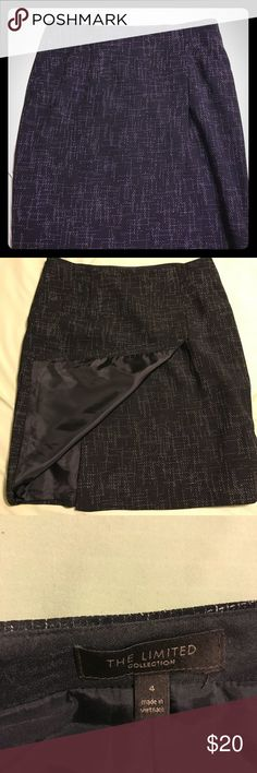Navy Blue tweed-like Office Skirt; Sz 4 Beautiful skirt from The Limited. Material looks tweed-like but base color is navy blue. Pockets w/wrap around type panel in front (not a true wrap around style tho).  In great condition, gently worn. The Limited Skirts