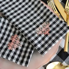 Add a simple cross stitched heart to give plaid napkins a Valentine's Day touch.