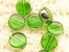 10mm Peridot Green Transparent Crystal Coin by BellasBeadHabit